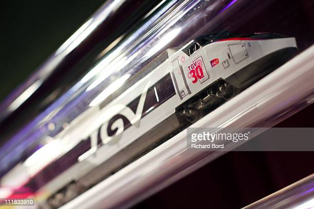 A miniature of the TGV train is seen during the SNCF presentation at Gare Montparnasse on April 7 2011 in Paris France French train company SNCF are...