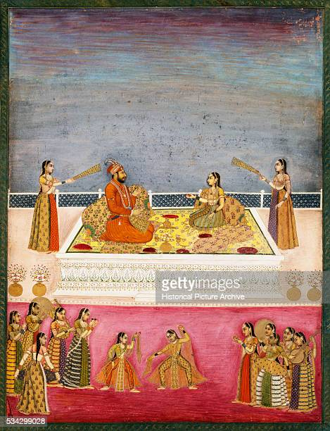 Miniature Painting Depicting Emperor Mohammad Shah at a Dance Performance