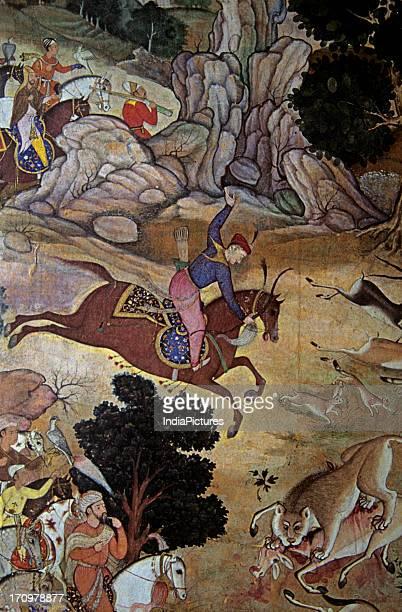 Miniature painting of Akbar Hunting Akbarnama National Museum New Delhi