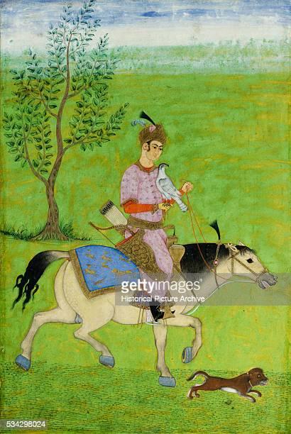 Miniature Painting of an Iranian Prince Hawking on Horseback