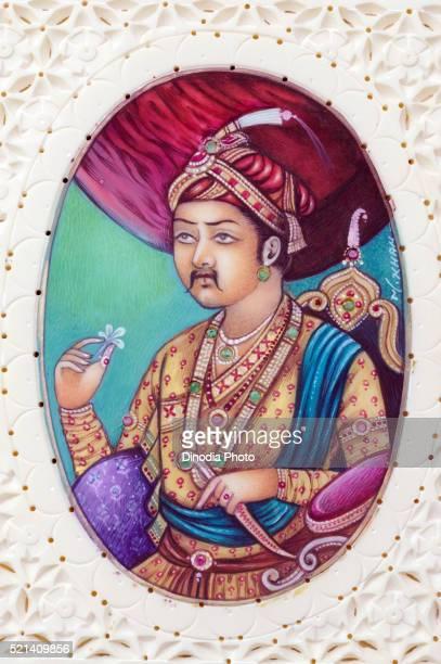 Miniature painting of Mughal Emperor Akbar, India, Asia