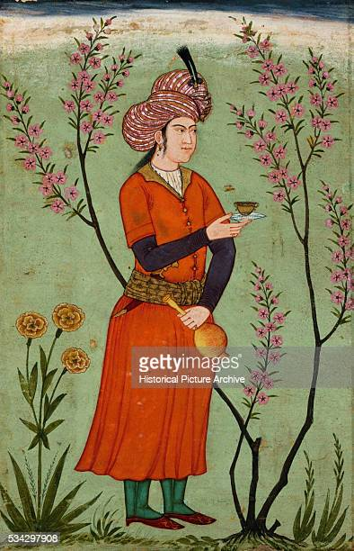 Miniature Painting of Persian Prince Holding Cup and Flask
