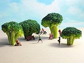 Miniature park with broccoli trees