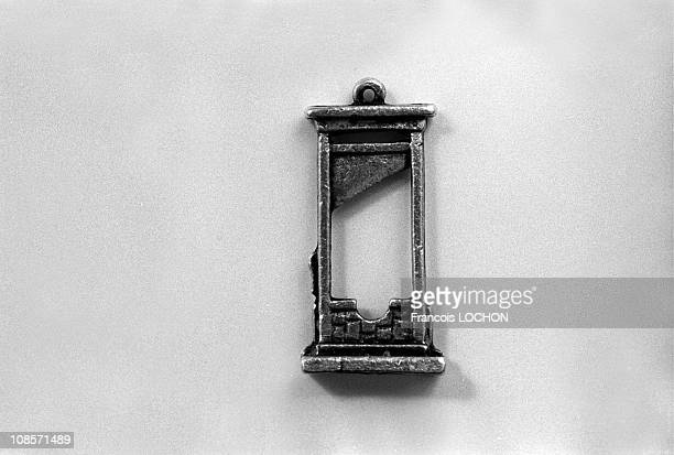 Miniature replica of a guillotine in Paris France on December 01 1977