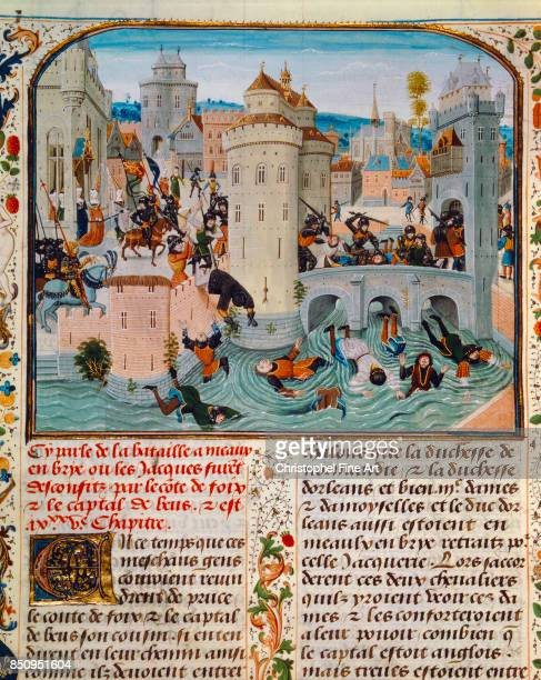 Miniature The Chronicles of Jean Froissart Peasants are hacked to pieces at Meaux by Gaston Phoebus Count of Foix Freeing of the Duchesses of...
