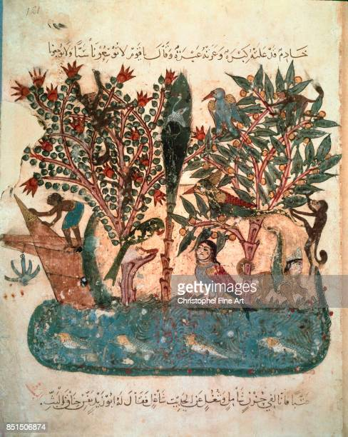 Miniature The Mysterious Island From Maqamat by Al Hariri 1237 Paris Bibliotheque nationale