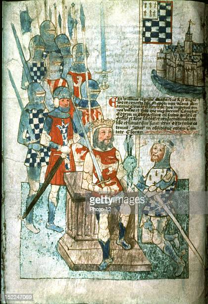 Miniature William the Conqueror Duke of Normandy and King of England investing Earl Alain of Brittany with Edwin County lands 15th century England...