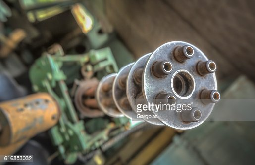 Minigun on a helicopter : Stock Photo