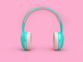 minimal pink background green-white headphones 3d rendering