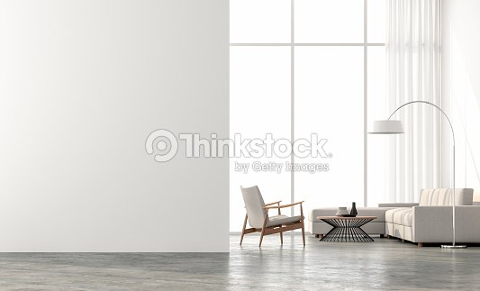 Render 3d de la sala de estar de estilo minimalista : Foto de stock