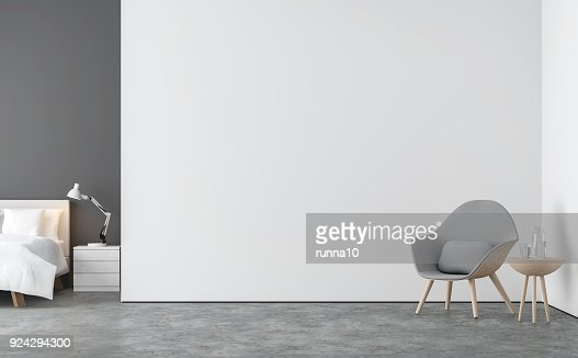 Minimal style  living room and bedroom 3d rendering image : Stock Photo