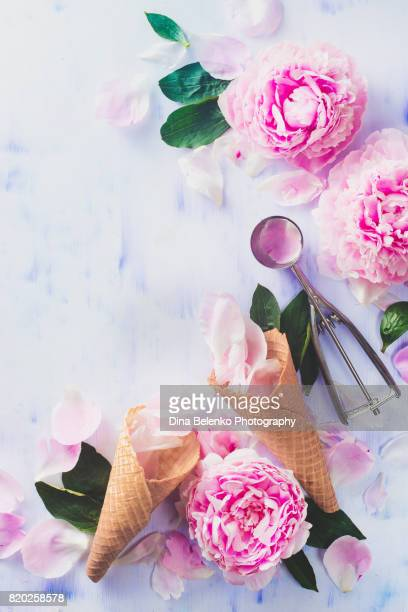Minimal styled flatlay with peony flowers, petals, and waffle ice cream cones on a pastel background