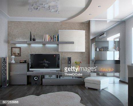 Minimalismo sala de estar, Renderizado 3D : Foto de stock