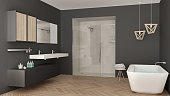 Minimalist bright bathroom with double sink, shower and bathtub, white and gray interior design
