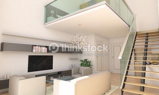 Minimalistische Duplex Startseite Wohnzimmer Innenraum