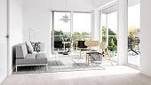 Minimalist interior with terrace. Render image.