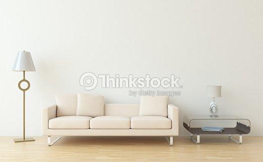 Minimalist Living Room Interior Scene With Blank White