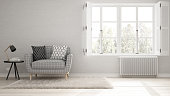 Minimalist living room, simple white living with big window, scandinavian classic interior design