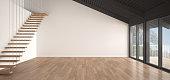 Minimalist mezzanine loft, empty industrial space, metal roofing and parquet floor, scandinavian classic white interior design with garden panorama