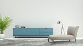 Modern interior, minimalist design style, with sofa , decoration. green plant, polished floor, floor light, dark gray colors, brown sofa. turqouise shelf, interior designer template. blank wall for co