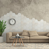 Modern interior, minimalist design style, white sofa with concrete wall in the background, hexagon tiles, coffee table, plant. interior designer template. blank wall for copy space. square render