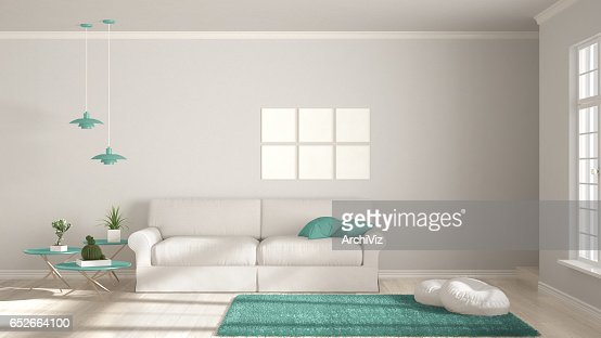 Minimalist room, simple white and turquoise living with big window, scandinavian classic interior design : Foto de stock