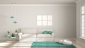 Minimalist room, simple white and turquoise living with big window, scandinavian classic interior designMinimalist room, simple white, gray and green living with big window, scandinavian classic inter