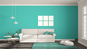 Minimalist room, simple white, gray and turquoise living with big window, scandinavian classic interior designMinimalist room, simple white, gray and green living with big window, scandinavian classic