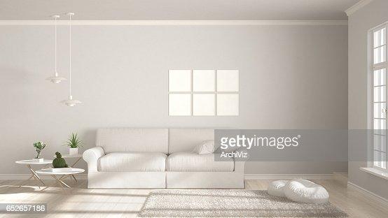 Minimalist room, simple white living with big window, scandinavian classic interior design : Foto de stock