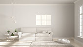 Minimalist room, simple white living with big window, scandinavian classic interior designMinimalist room, simple white, gray and green living with big window, scandinavian classic interior design