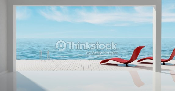 minimalist sea house : Stock Photo