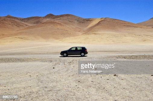 Minimalist Volkswagen Golf in chilean highlands.