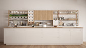 Minimalist white wooden kitchen with appliances close-up, scandinavian classic interior design