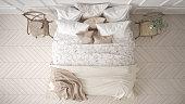 Minimalistic classic bedroom, top view, white interior design