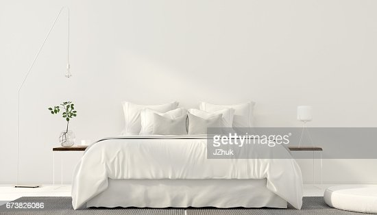 Minimalistic interior of white bedroom : Stock Photo