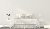 3D illustration. Minimalistic interior of white bedroom