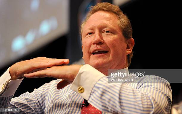 Mining billionaire Andrew 'Twiggy' Forrest speaks during a business luncheon in Sydney on April 17 2012 Forrest founder and Chairman of Fortescue...