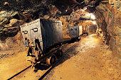 Mining cart in silver, gold, copper mine