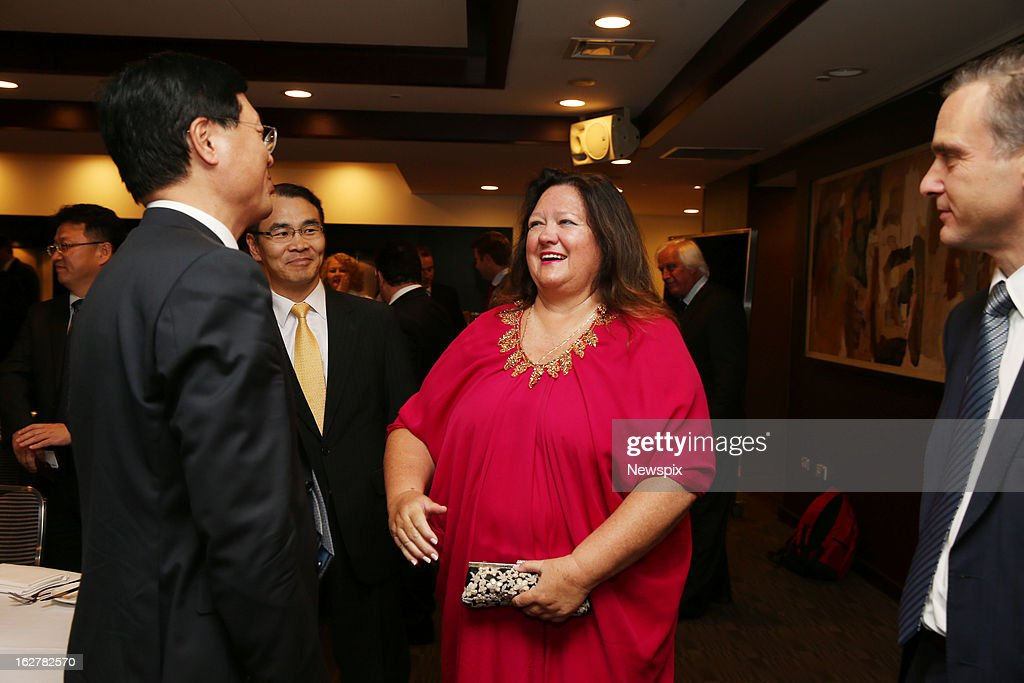 Mining magnate Gina Rinehart arrives with her security at the 4th Annual Mining Awards in Sydney, New South Wales.