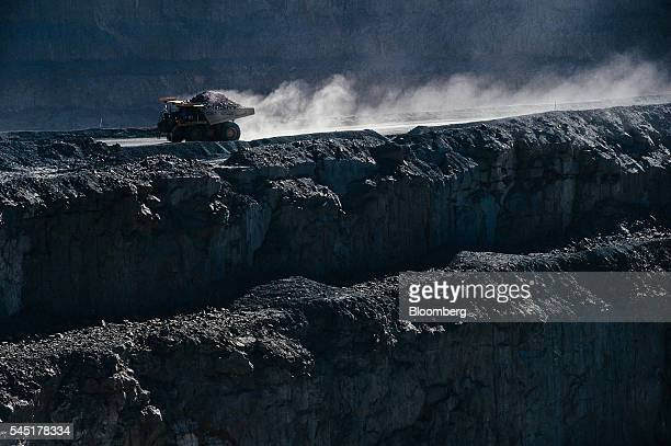 A mining truck carries diamond bearing rock ore also known as kimberlite from the open pit at the Letseng diamond mine operated by Gem Diamonds Ltd...