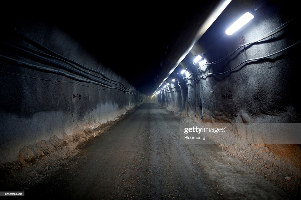 A mining tunnel is seen during construction of the Olympias gold mine, operated by Hellas Gold and Eldorado Gold Corp., near Ierissos, Halkidiki pensinsula, Greece, on Tuesday, Oct. 30, 2012. Eldorado Gold Corp. and Glory Resources Ltd. are developing four mines that should turn Greece into Europe's biggest producer of the precious metal by 2016. Photographer: Angelos Tzortzinis/Bloomberg via Getty Images