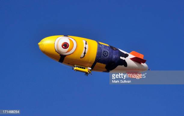 Minion blimp promotes the film 'Despicable Me 2' above Dodger Stadium before the game between the Los Angeles Dodgers and the San Francisco Giants at...