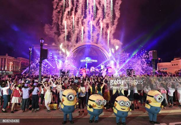 Minion Mayhem Summer Night Party the first summer night event at Universal Studios Japan in Osaka is shown to the media on June 29 2017 The...