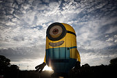 Minion shaped balloon takes to the skies on the first day of the Bristol International Balloon Fiesta at the Ashton Court estate on August 6 2015 in...