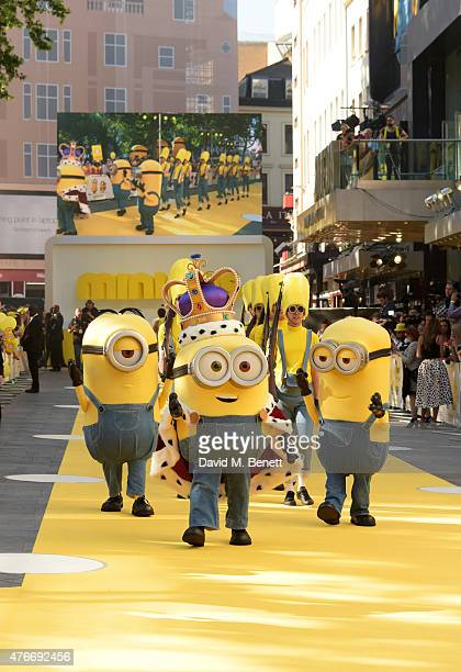 Minions pose at the World Premiere of 'Minions' at Odeon Leicester Square on June 11 2015 in London England