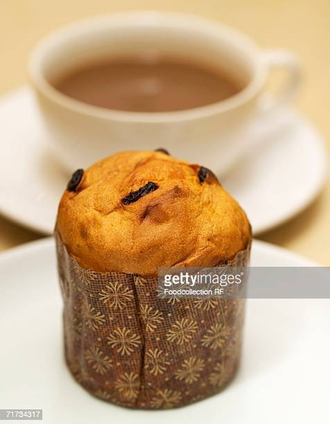 Mini-panettone and cup of coffee