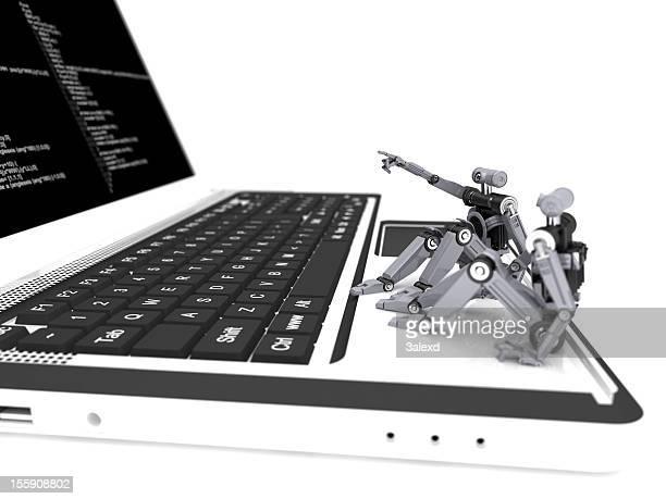 Minirobots on laptop