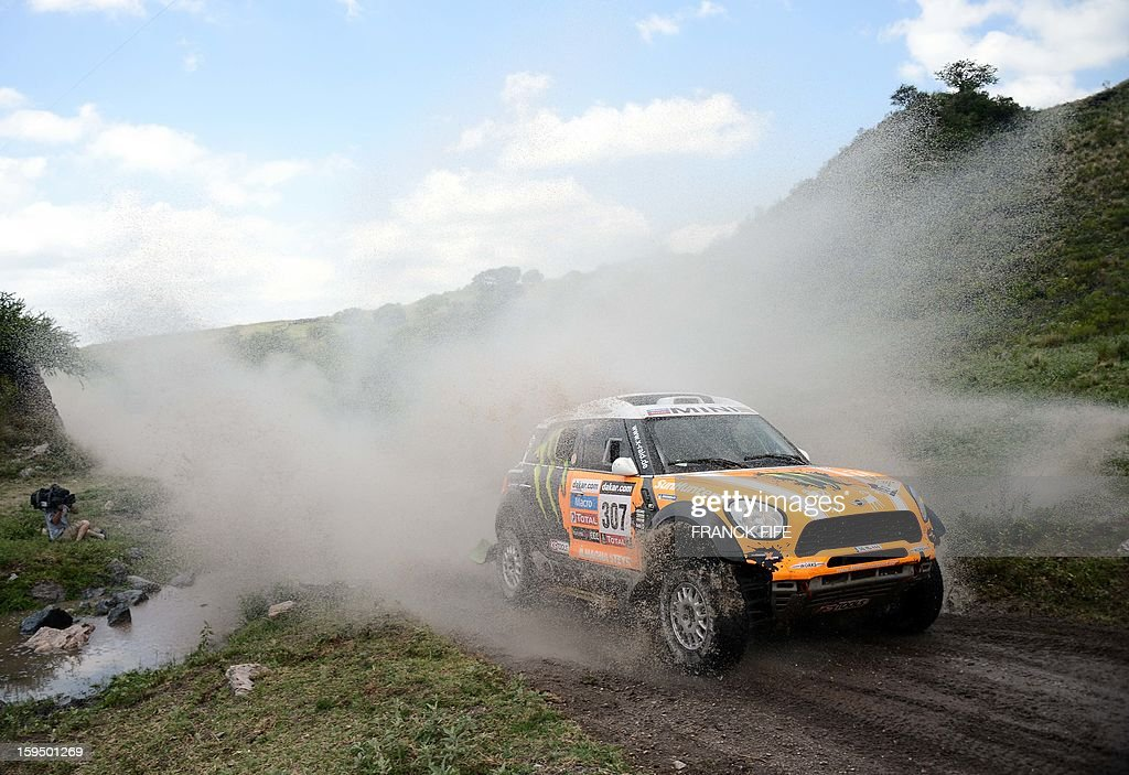 Mini's driver Leonid Nivitskiy of Russia competes during the Stage 9 of the Dakar 2013 between Tucuman and Cordoba, Argentina, on January 14, 2013. The rally takes place in Peru, Argentina and Chile from January 5 to 20. AFP PHOTO / FRANCK FIFE