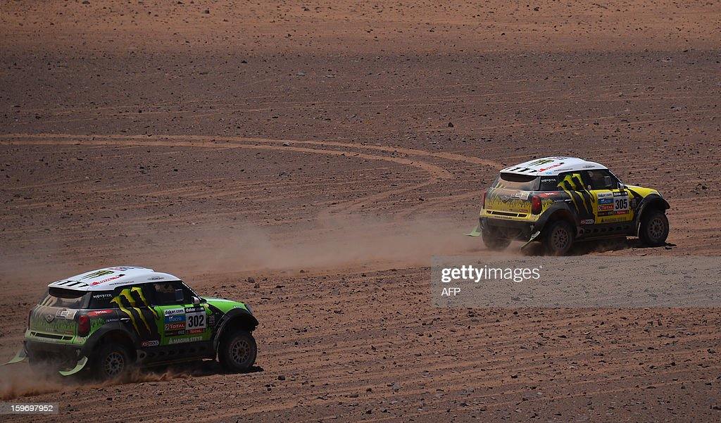 Mini's driver Nani Joan Roma (R) of Spain and Mini's driver Stephane Perterhansel of France compete in the Stage 13 of the 2013 Dakar Rally between Copiapo and La Serena, in Chile, on January 18, 2013. The rally is taking place in Peru, Argentina and Chile from January 5 to 20. AFP PHOTO / POOL