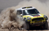 Mini's driver Nani Roma of Spain and codriver Michel Perin compete during the 2014 Rally Dakar Stage 8 between Salta Argentina and Calama Chile on...